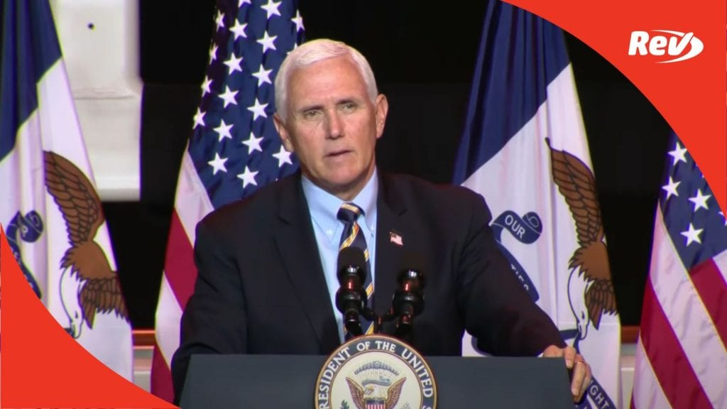 Mike Pence Carter Lake, Iowa Campaign Visit Speech Transcript October 1