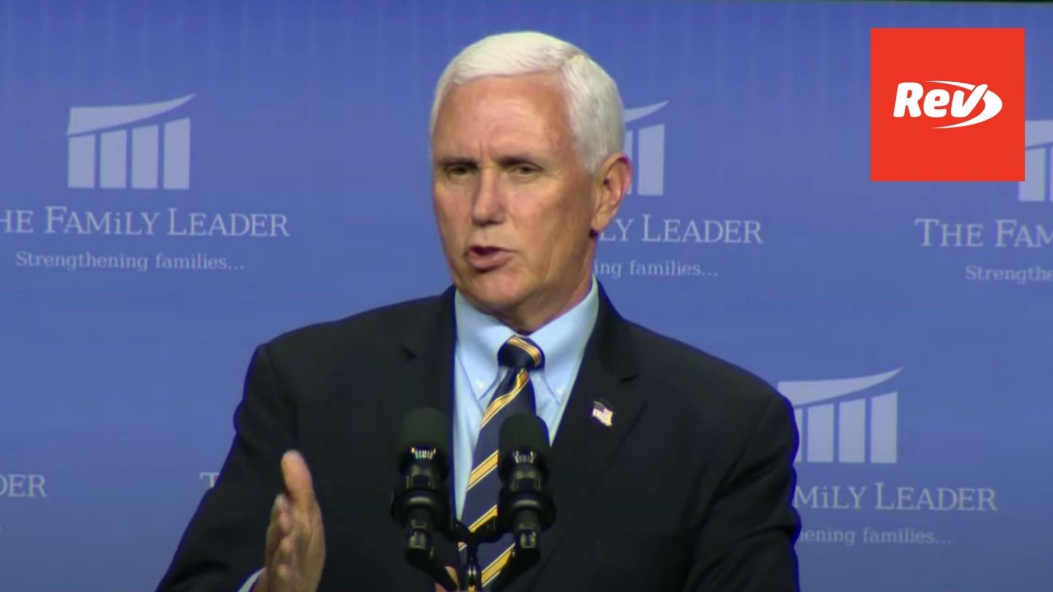 Mike Pence 'Faith in Leadership' Speech Transcript October 1