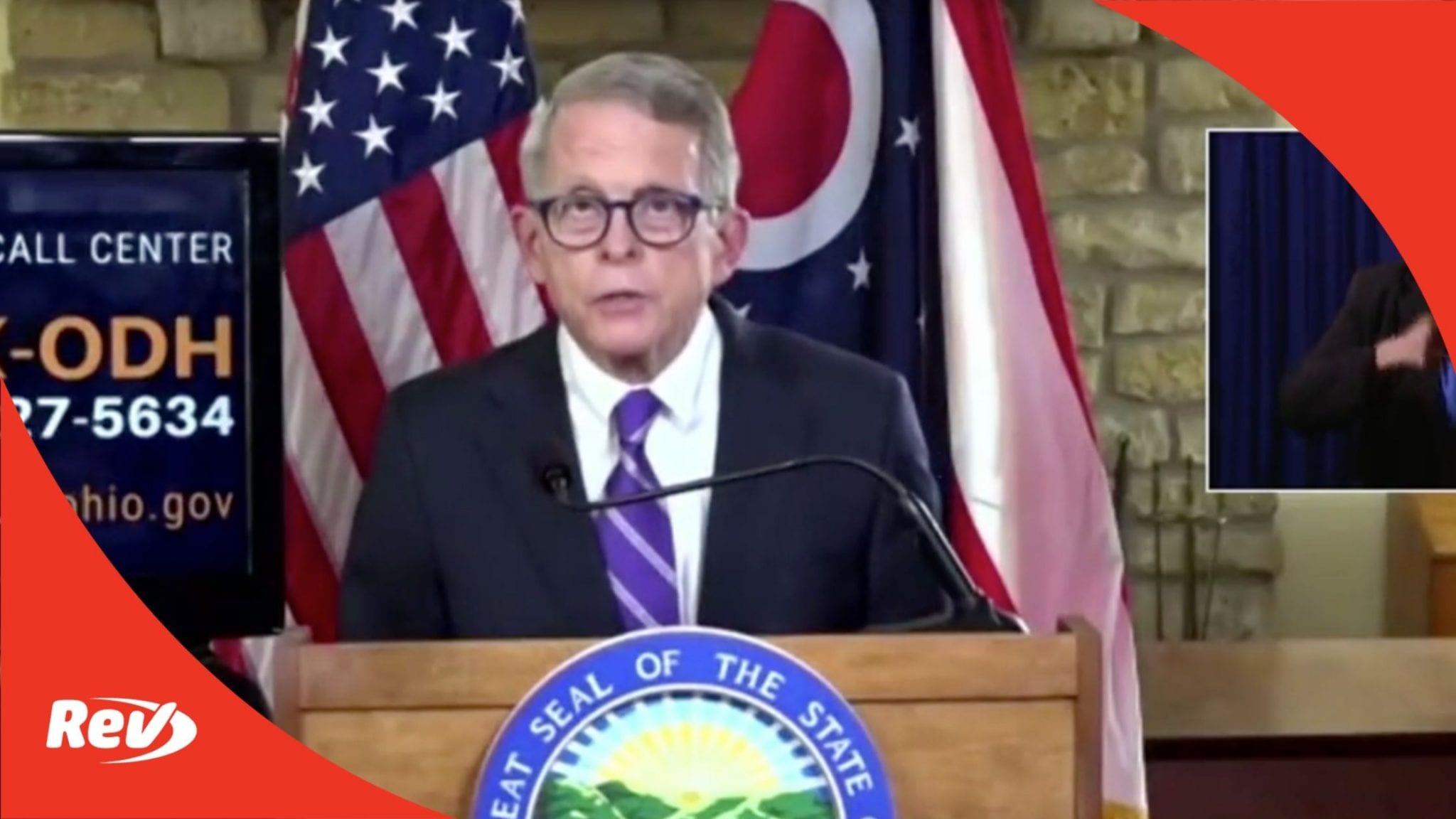 Ohio Gov. Mike DeWine Coronavirus Press Conference Transcript October 22
