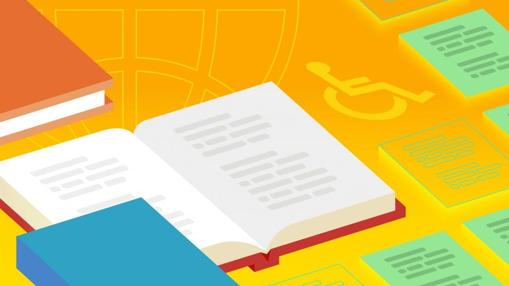 Illustration of an open book laying on a yellow background beside transcripts. A handicapped symbol is overlaid in the background.