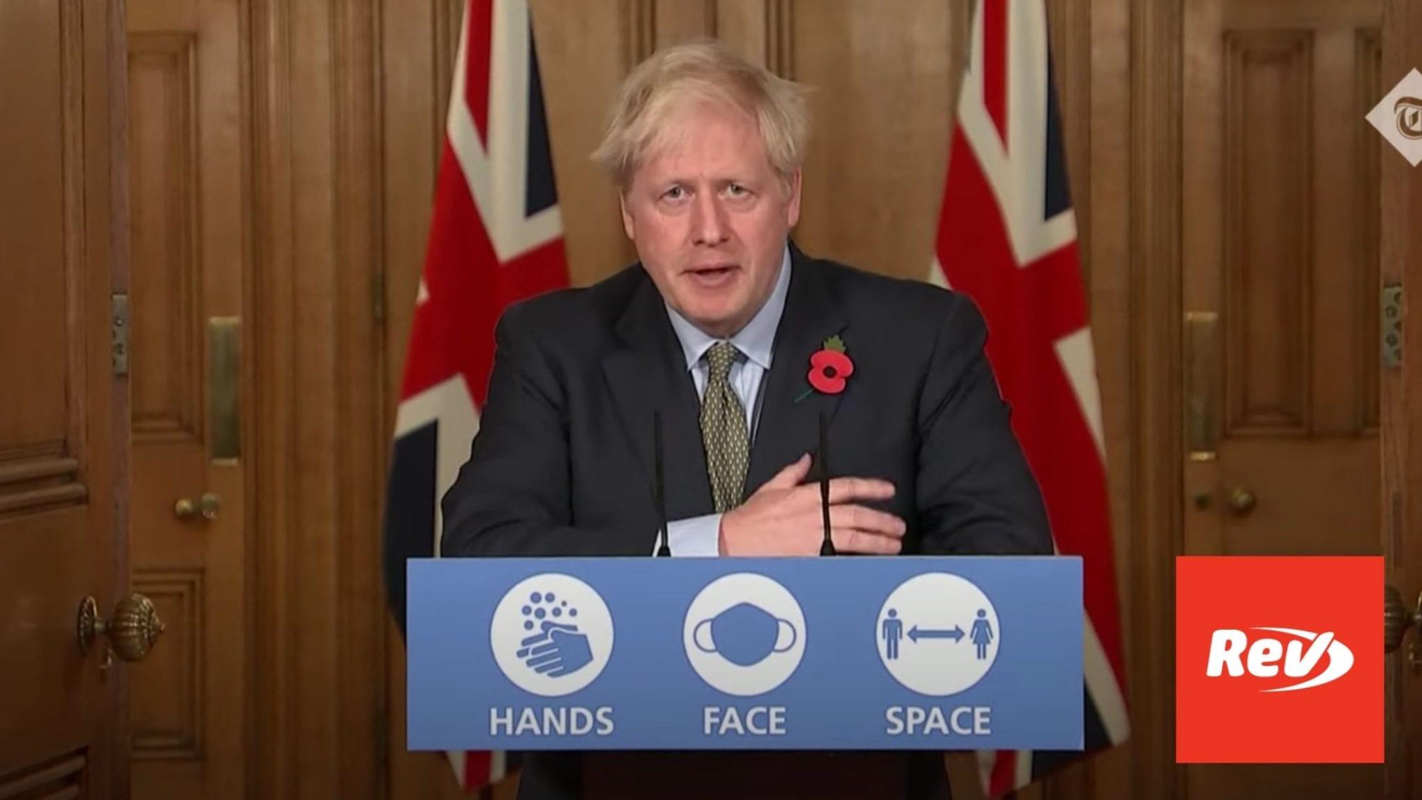 Boris Johnson November 9 Press Confeerence Coronavirus