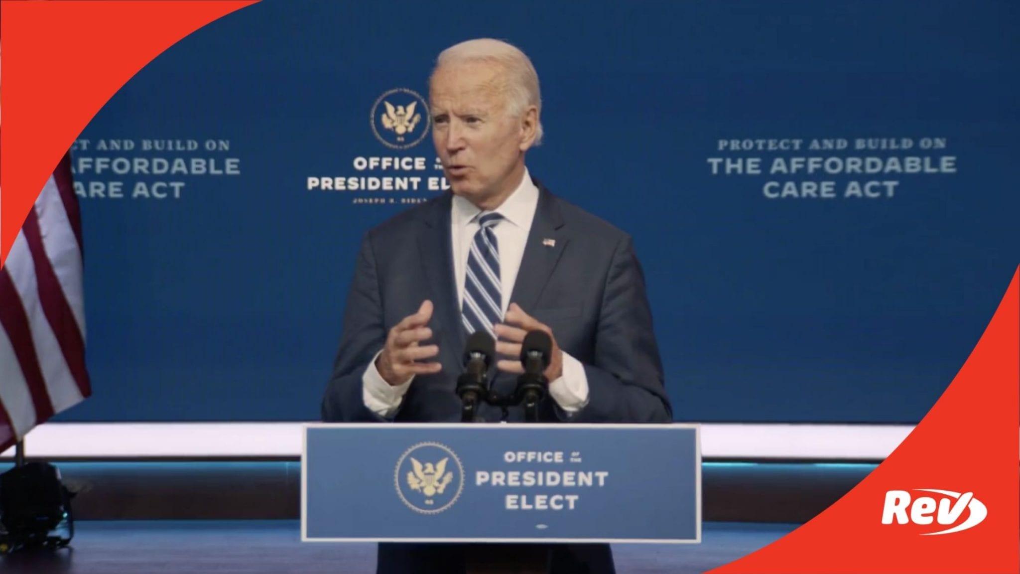Joe Biden Press Conference on Affordable Care Act Transcript November 10