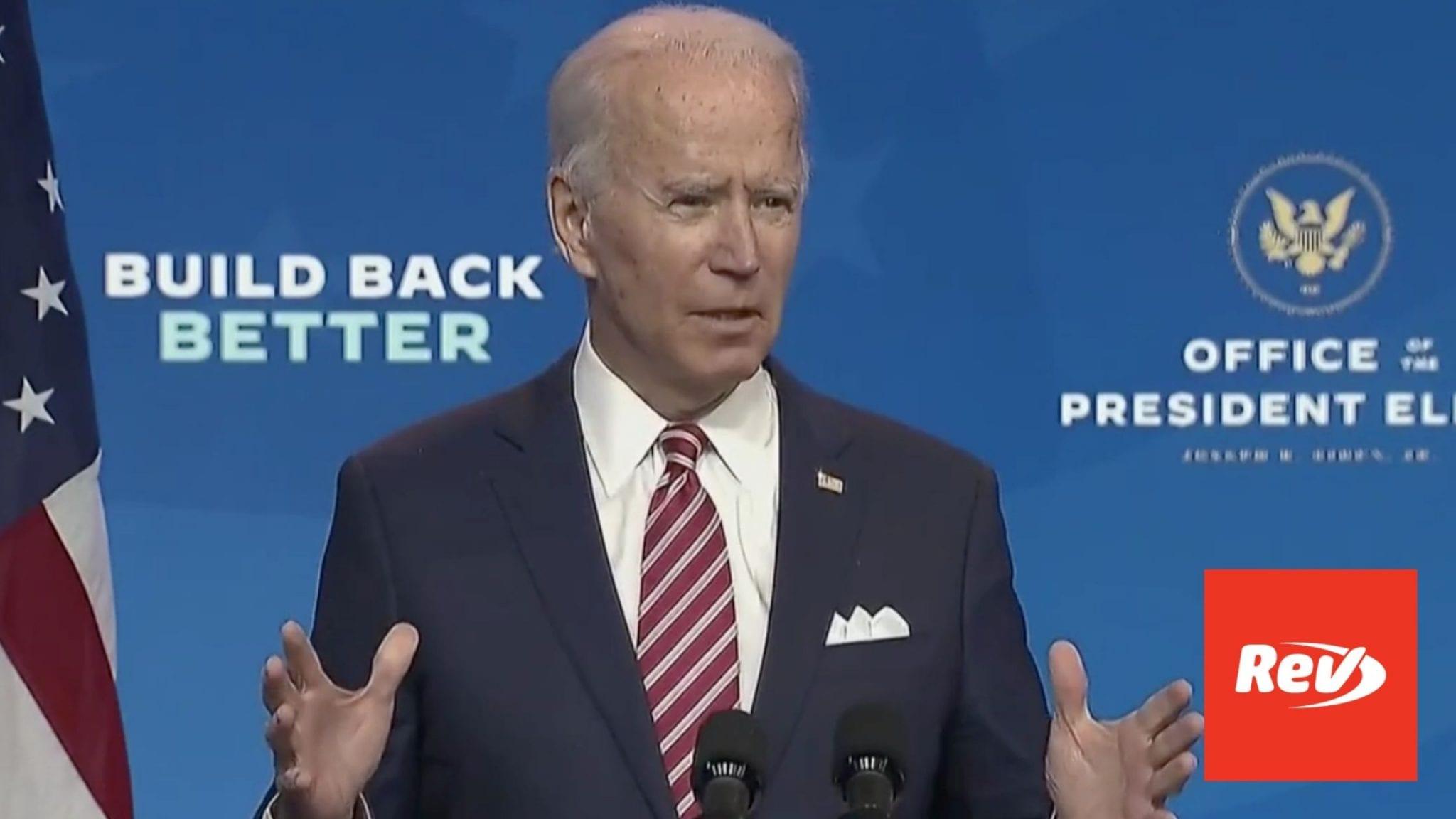 Joe Biden Speech on Economic Recovery Plan Transcript November 16
