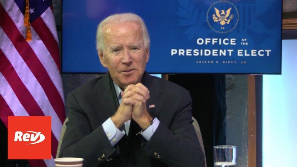 Joe Biden Meets with Frontline Health Care Workers Transcript November 18