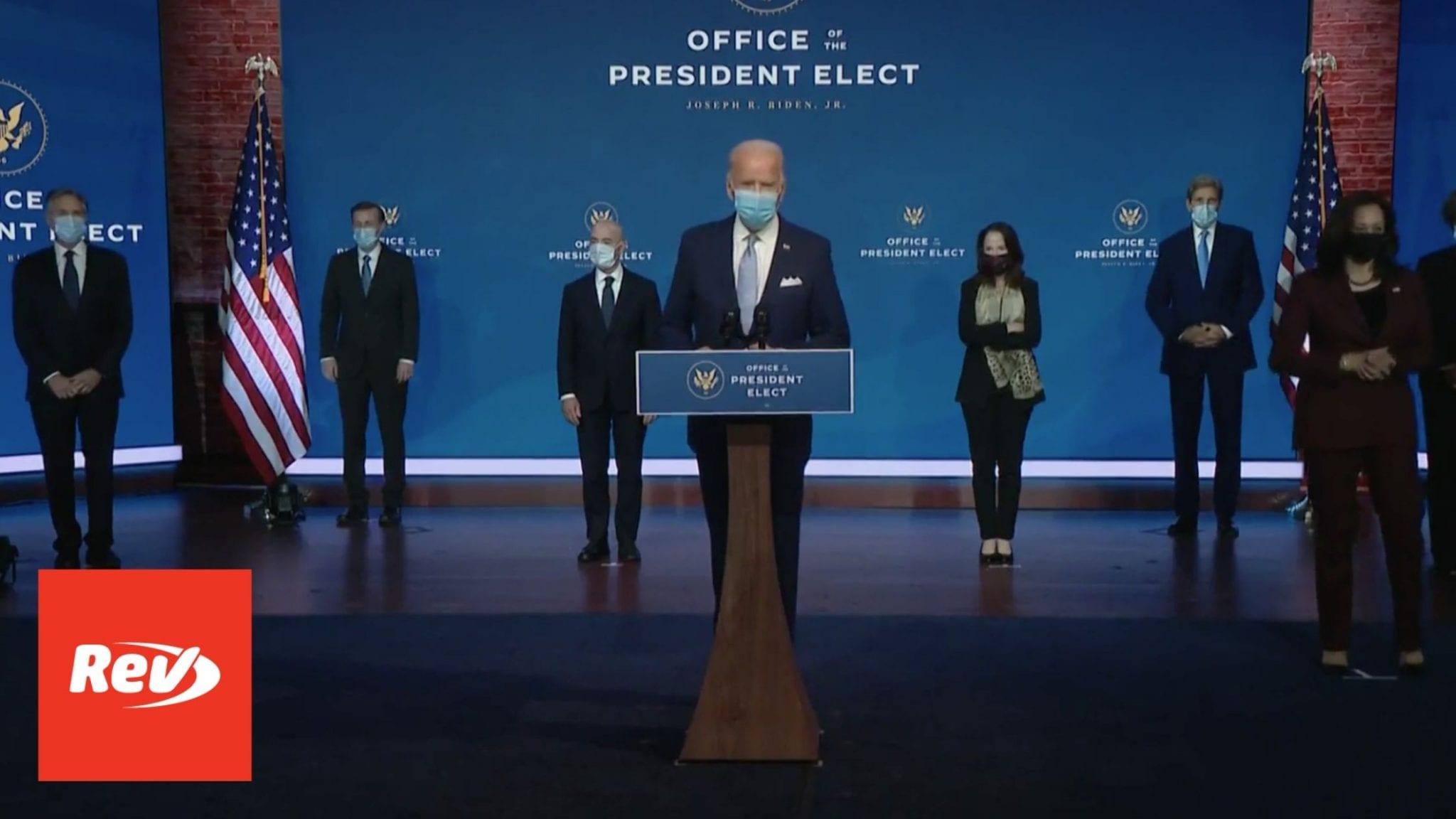 Joe Biden Announcement Transcript November 24: Key Cabinet Picks
