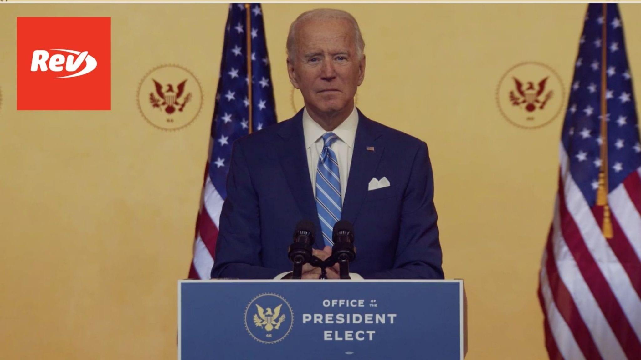 Joe Biden Thanksgiving Address Speech Transcript 2020