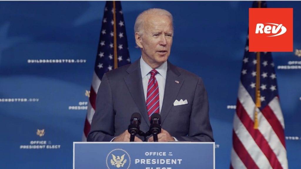 Joe Biden Speech on 2020 Job Numbers Transcript December 4