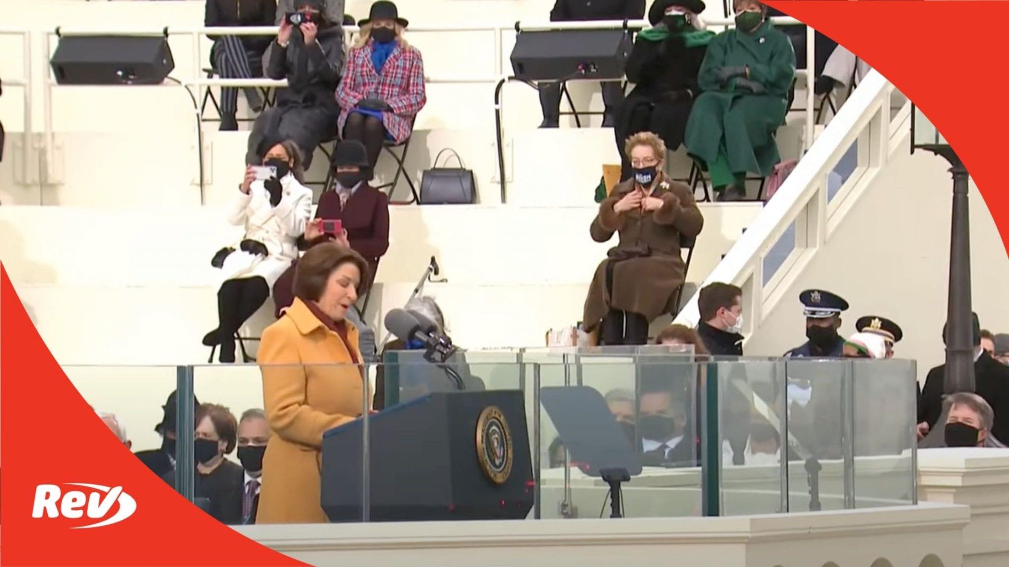 Amy Klobuchar Speech Transcript at Joe Biden Inauguration