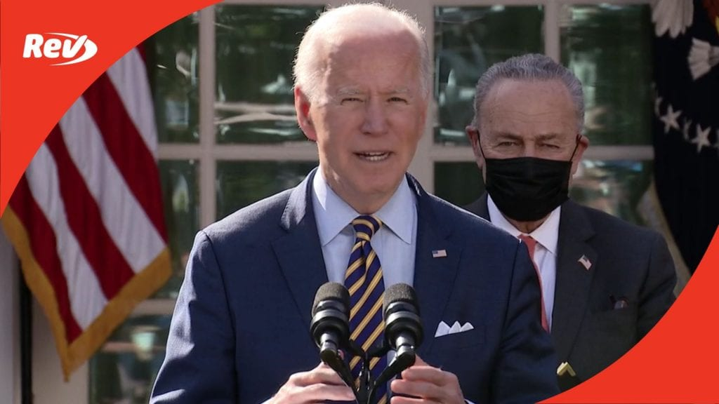 Biden, Harris, Schumer, Pelosi Rose Garden Speech on American Rescue Plan Transcript March 12