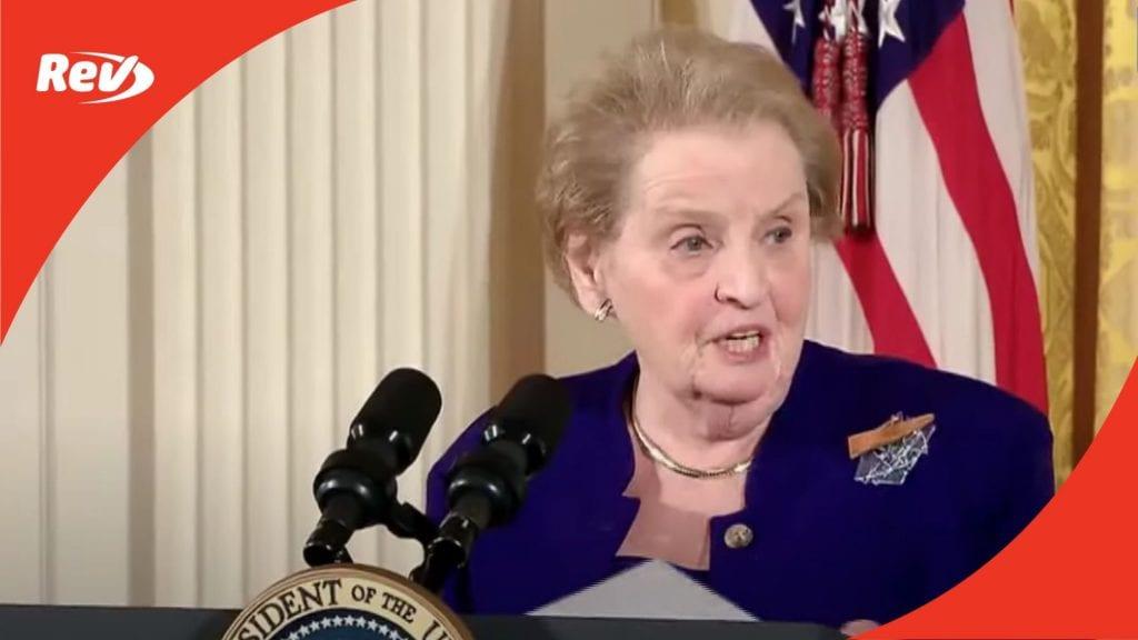 Madeleine Albright International Women's Day 2010 Speech Transcript