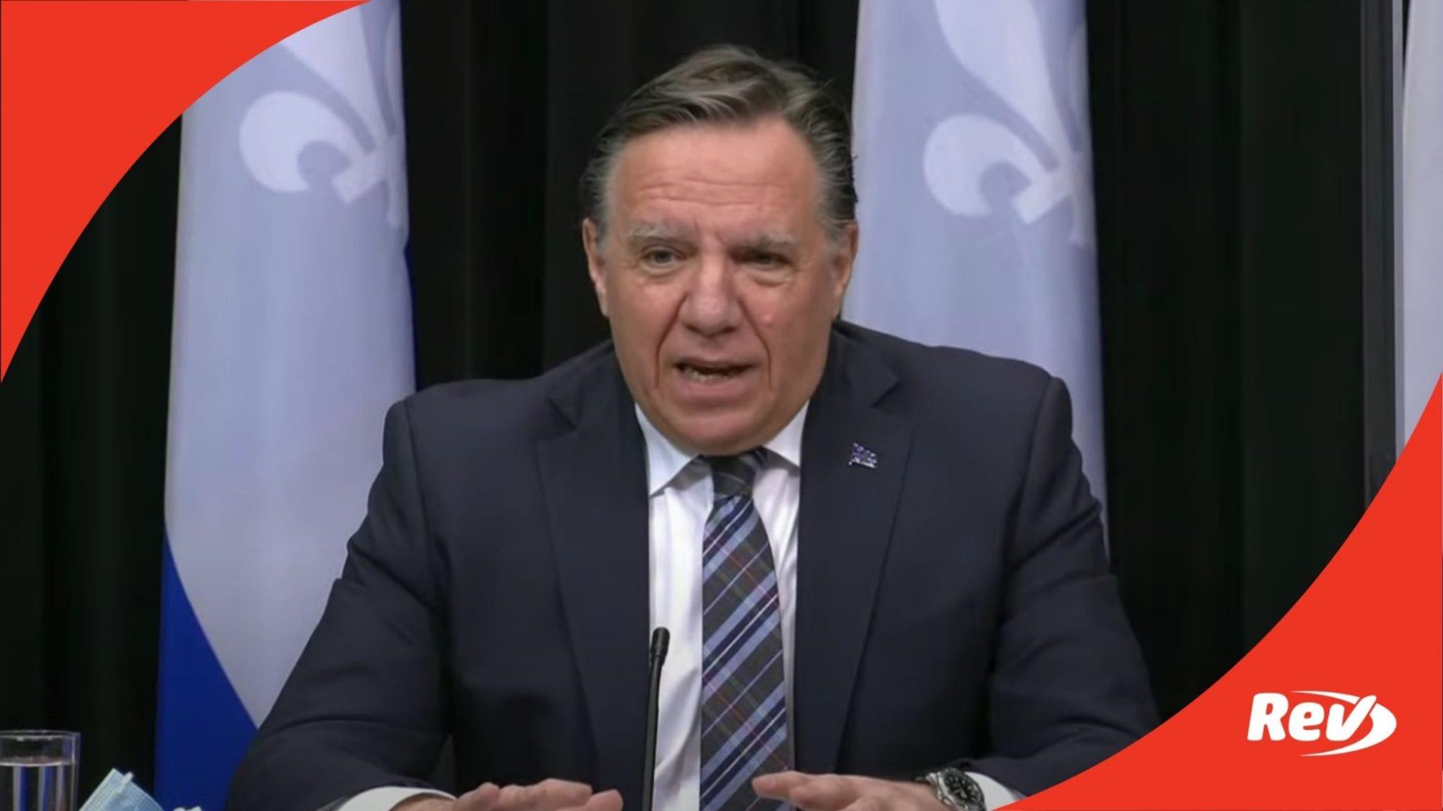 Quebec, CA François Legault Press Conference on COVID-19 Restrictions Transcript April 13