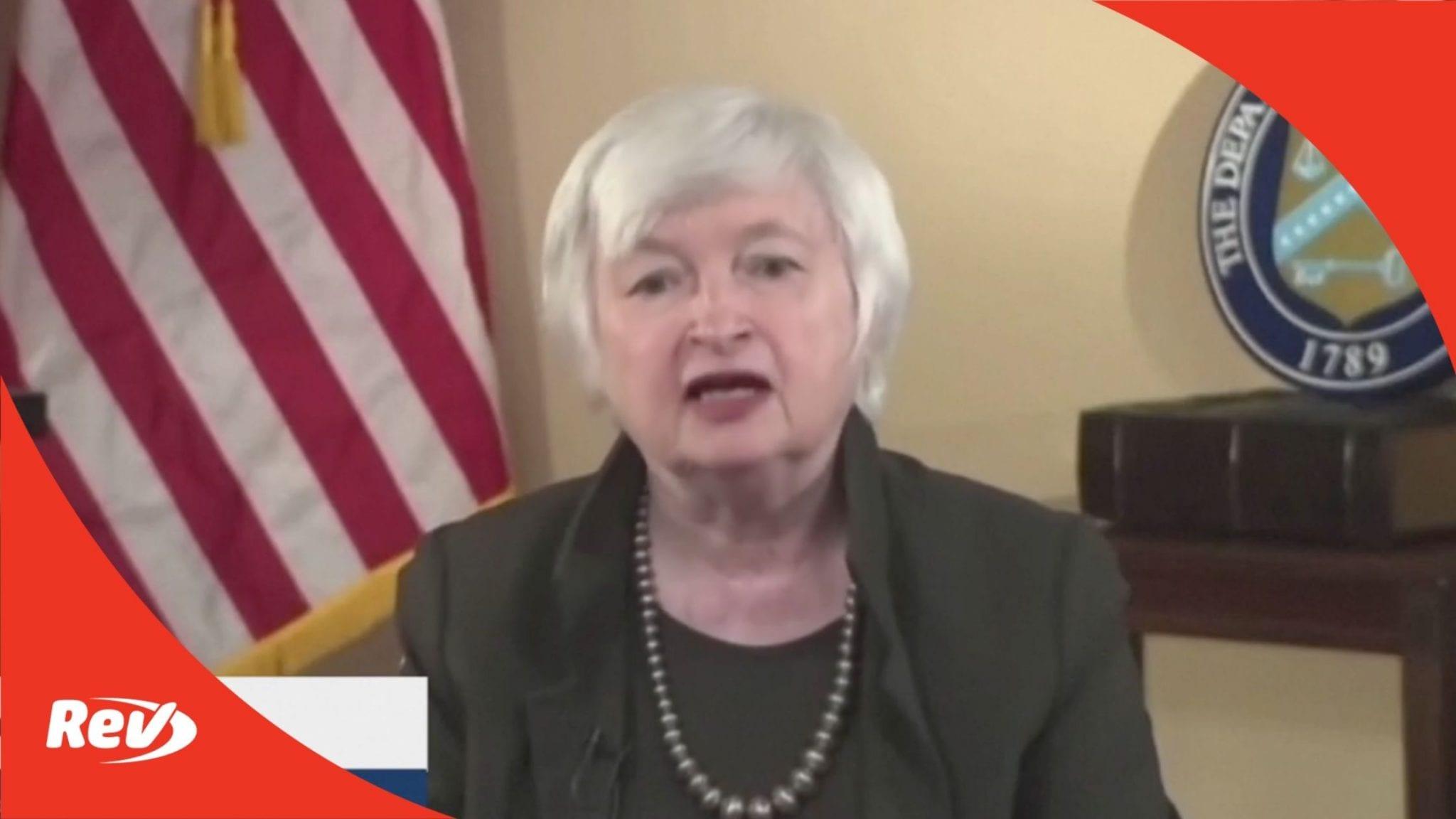 Treasury Secretary Janet Yellen Speech on Economic Recovery, Global Minimum Tax Rate Transcript April 5