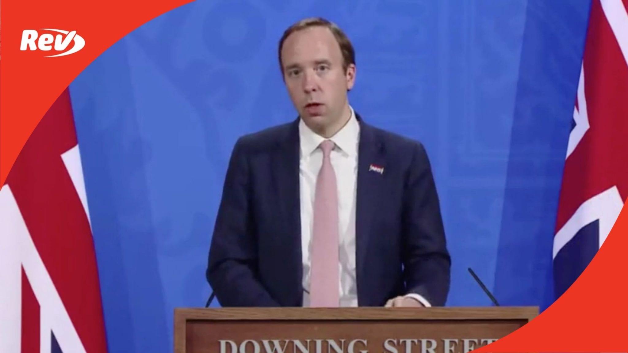 UK Downing Street Coronavirus Press Conference with Matt Hancock Transcript May 27
