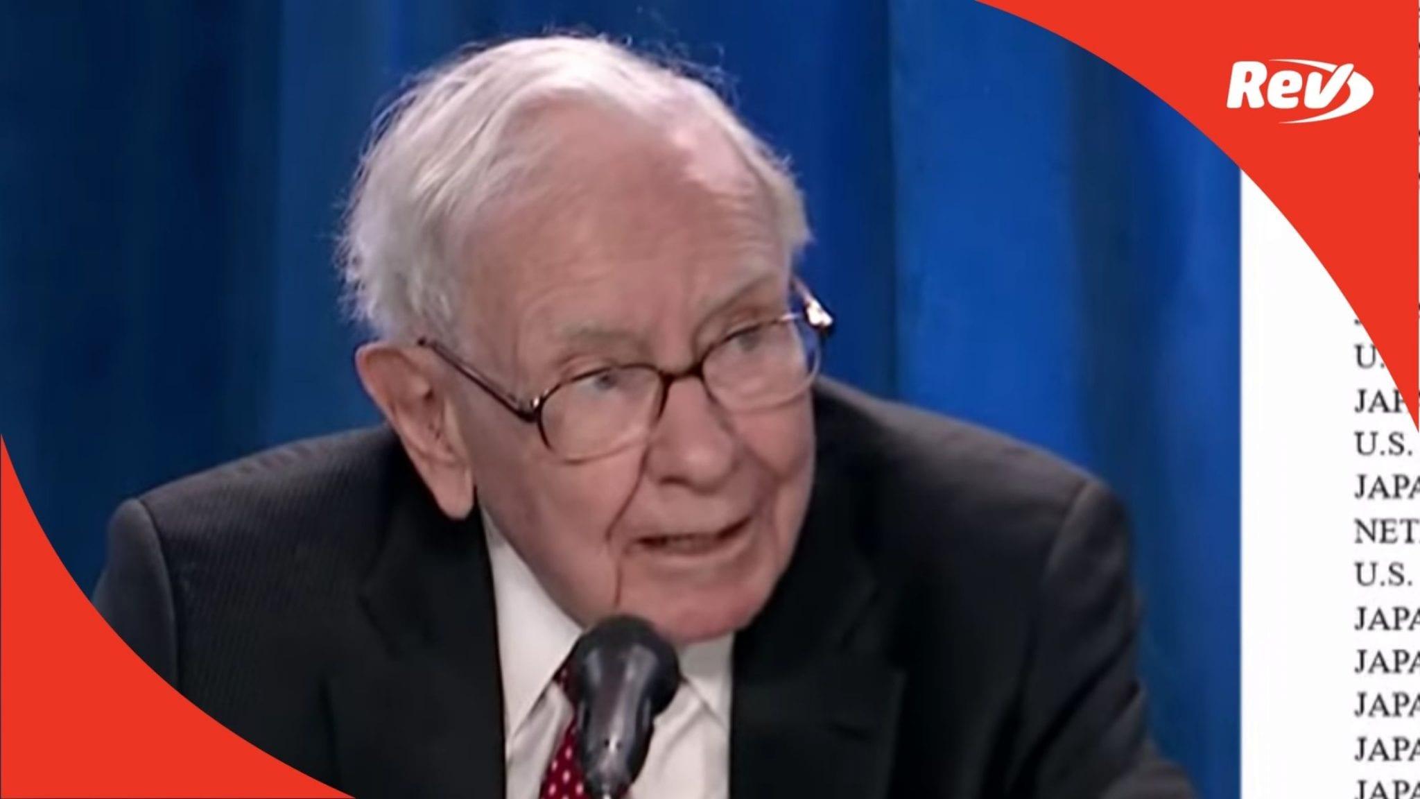 Warren Buffett Berkshire Hathaway Annual Meeting Transcript 2021
