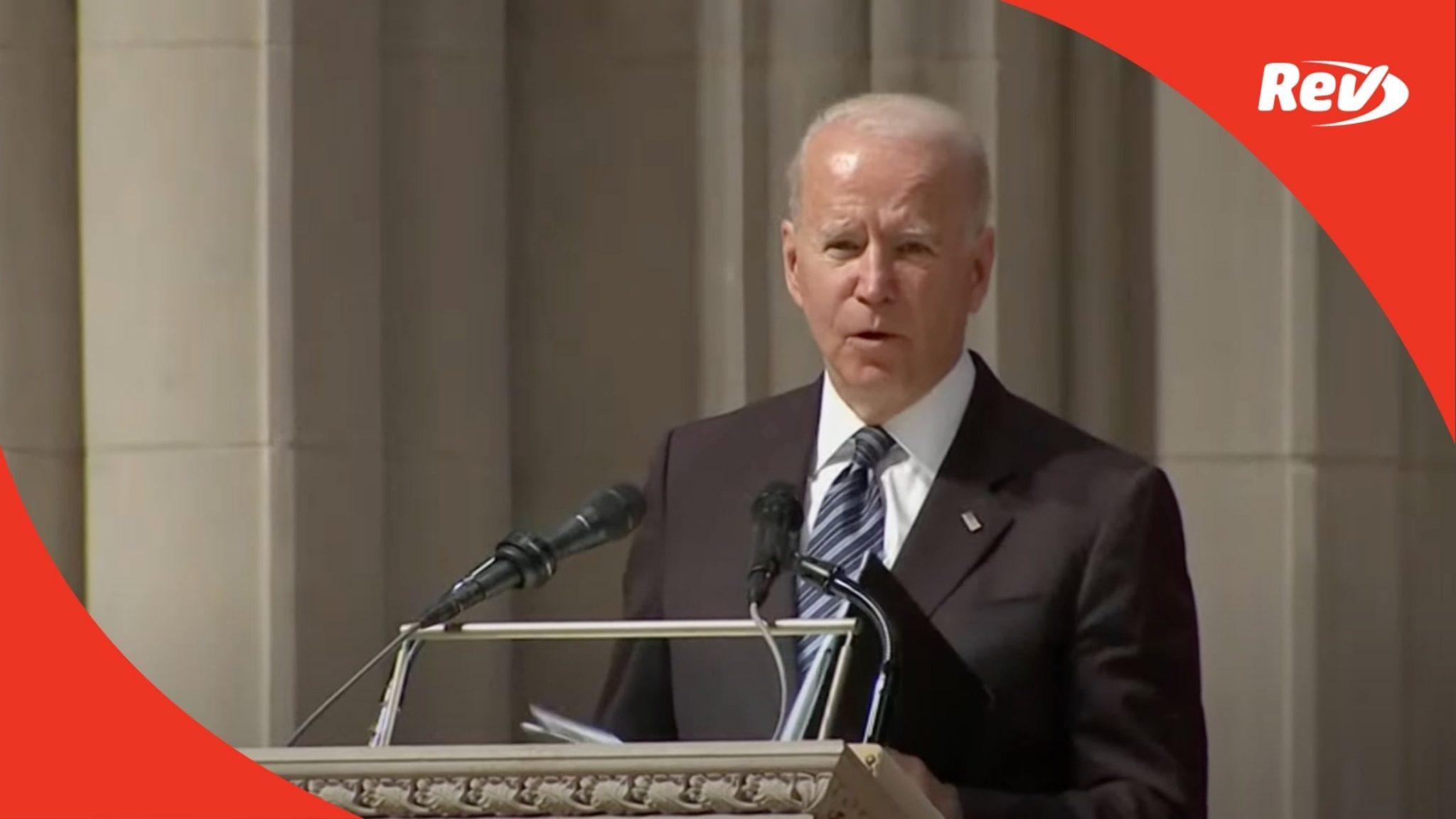 Biden delivers remarks at funeral service for John Warner