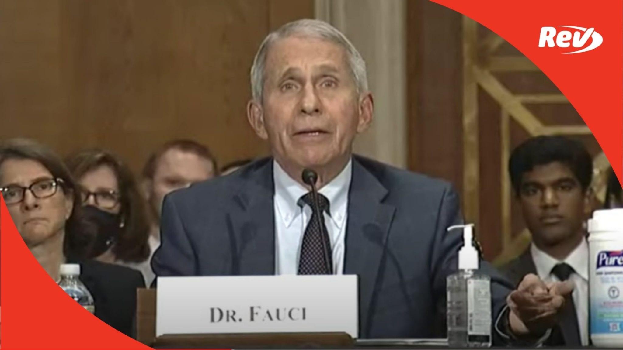 Fauci, Walensky COVID-19 Response Testimony Senate Hearing Transcript July 20