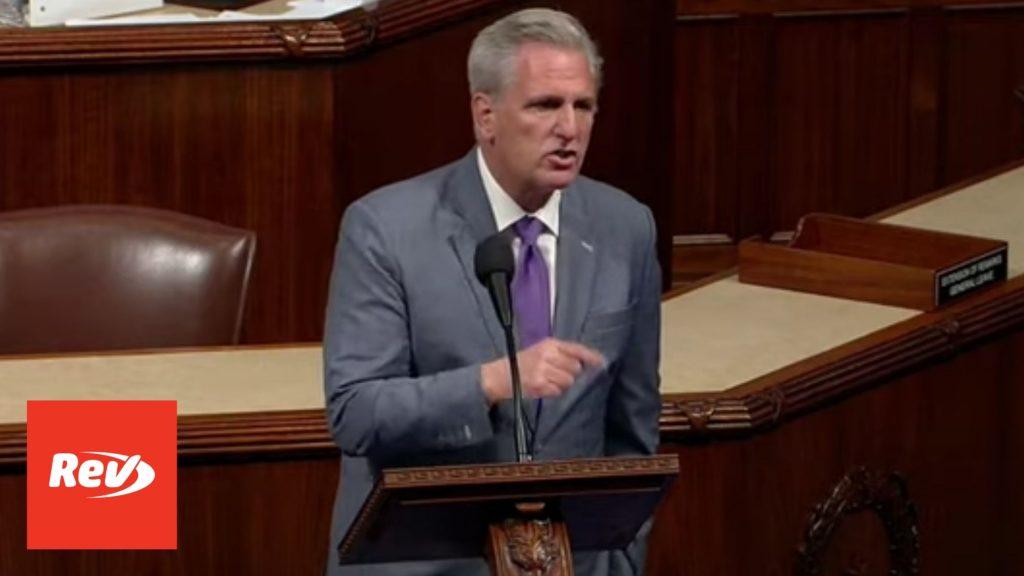 Kevin McCarthy House Floor Speech on Mask Mandate Transcript July 28