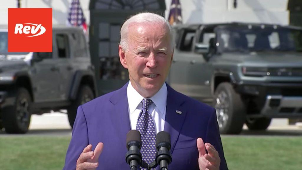 Joe Biden Fuel Economy, EV Sales Targets Speech Transcript August 5