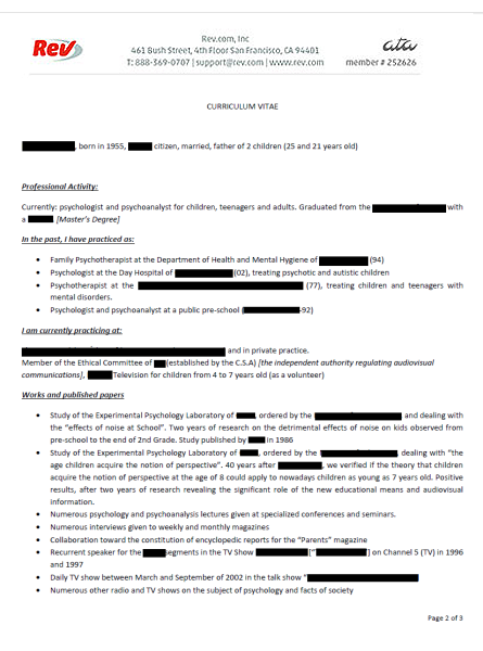 resume spanish translation