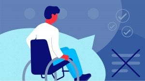 A man sitting in wheelchair, overlaid atop a dialog bubble, surrounded by various closed captions symbols. Illustration uses various shares of blue.