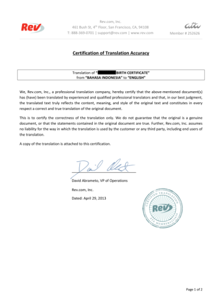 translate indonesian birth certificates